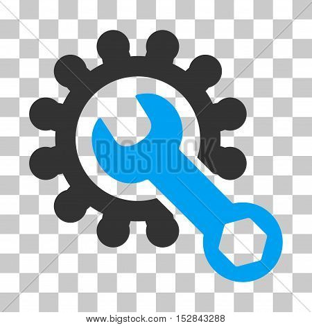Blue And Gray Service Tools interface toolbar pictogram. Vector pictogram style is a flat bicolor symbol on chess transparent background.