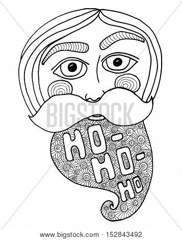 Santa head abstract vector illustration. Coloring book page for kids and adults.