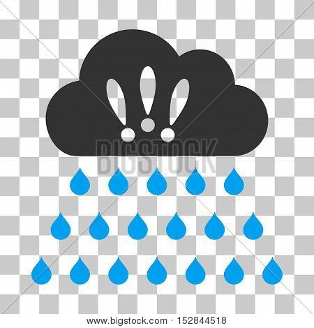 Blue And Gray Thunderstorm Rain Cloud interface pictogram. Vector pictogram style is a flat bicolor symbol on chess transparent background.