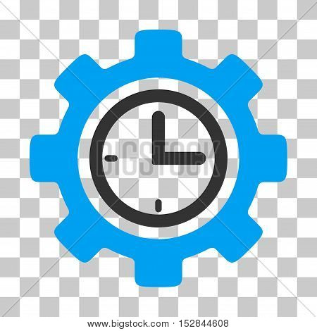 Blue And Gray Time Setup Gear interface toolbar icon. Vector pictograph style is a flat bicolor symbol on chess transparent background.