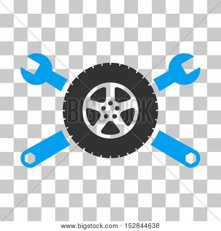 Blue And Gray Tire Service Wrenches interface toolbar pictogram. Vector pictograph style is a flat bicolor symbol on chess transparent background.