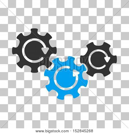 Blue And Gray Transmission Gears Rotation toolbar pictogram. Vector pictogram style is a flat bicolor symbol on chess transparent background.