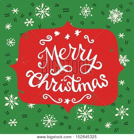 Merry Christmas vintage hand lettering with snowflakes on the background. Great design elements for Xmas invitation or greeting card flyer print and holiday poster.