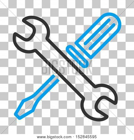 Blue And Gray Tuning Tools interface toolbar pictogram. Vector pictogram style is a flat bicolor symbol on chess transparent background.