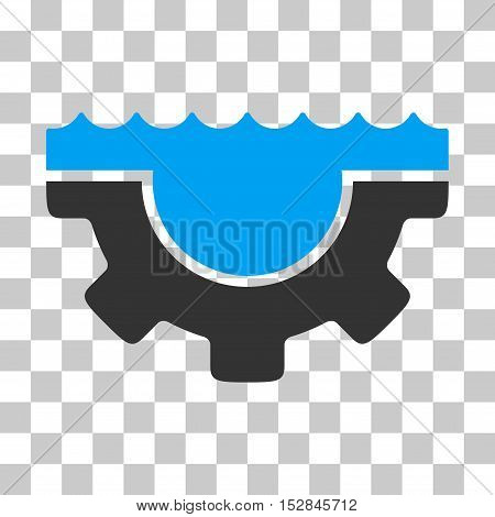 Blue And Gray Water Service Gear toolbar icon. Vector pictograph style is a flat bicolor symbol on chess transparent background.