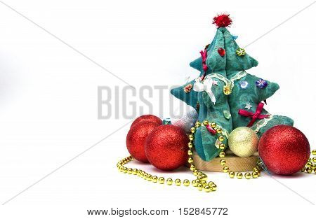 Red And Yellow Christmas Toys On A White Background