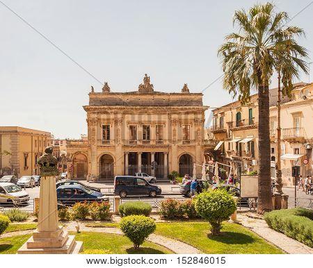 NOTO ITALY - SEPTEMBER 14 2015: The facade of the theatre of Vittorio Emanuele III in Noto Sicily Italy.