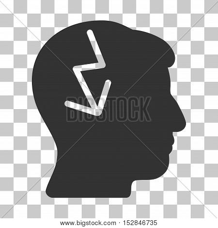 Gray Brain Electric Strike toolbar pictogram. Vector pictogram style is a flat symbol on chess transparent background.