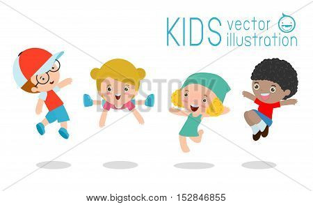 Kids jumping with joy, Multi-ethnic children jumping, happy cartoon child playing on white background ,Vector illustration