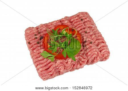 raw minced meat with onion and rosemary