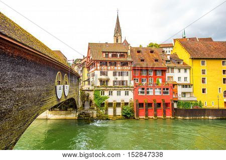 Landscape view on Baden old town with river and bridge in Switzerland