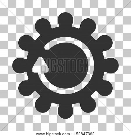 Gray Cog Rotation interface icon. Vector pictograph style is a flat symbol on chess transparent background.