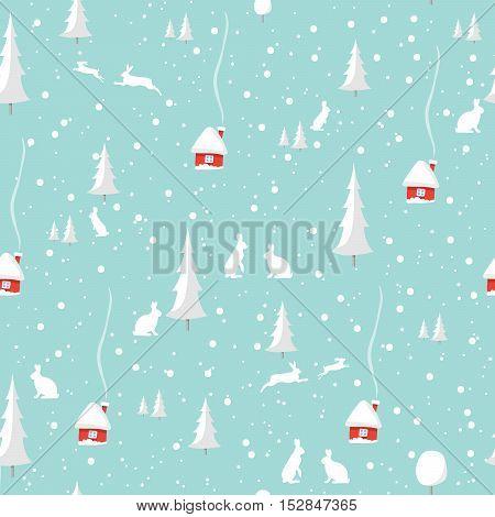 Merry christmas rabbit, Happy New Year Design Set, seamless pattern. Vector illustration EPS10.