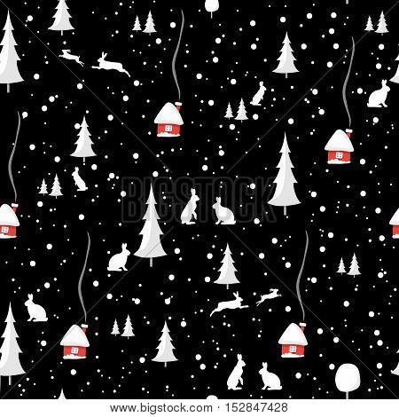 Merry christmas rabbit pattern with snow. Happy New Year Design Set, seamless pattern. Vector illustration EPS10.