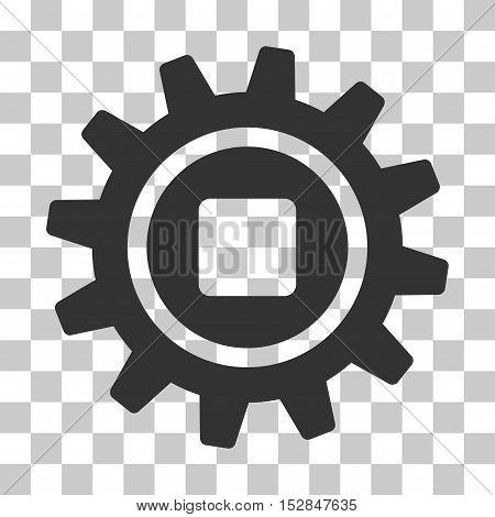 Gray Cog interface toolbar icon. Vector pictograph style is a flat symbol on chess transparent background.