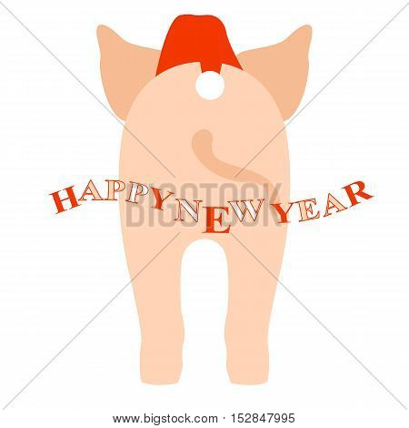 young pig vector illustration style Flat side back