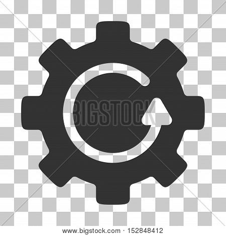 Gray Gear Rotation toolbar pictogram. Vector pictograph style is a flat symbol on chess transparent background.