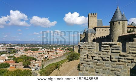 Medieval castle of Carcassonne and panorama of lower town Languedoc-Roussillon France