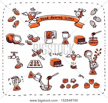 candy, strawberry, sweet, isolated, food, hand, icon, vector, kitchen, breakfast, sketch, cooking,