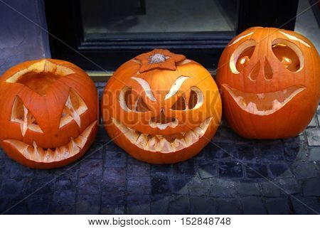 Scary and funny cute Halloween pumpkin closeup