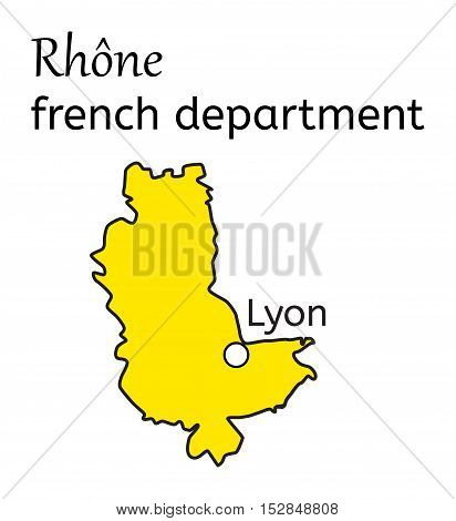 Rhone french department map on white in vector
