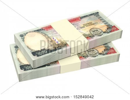 Nepalese rupee bills isolated on white background. 3D illustration.