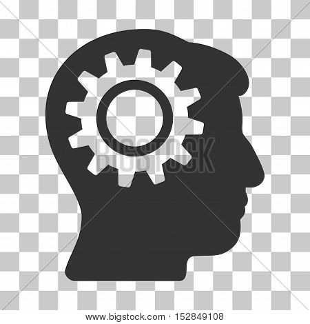 Gray Intellect Gear interface toolbar pictogram. Vector pictograph style is a flat symbol on chess transparent background.