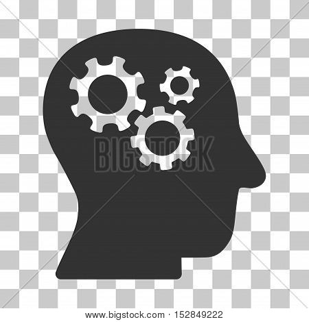 Gray Intellect Gears toolbar pictogram. Vector pictograph style is a flat symbol on chess transparent background.