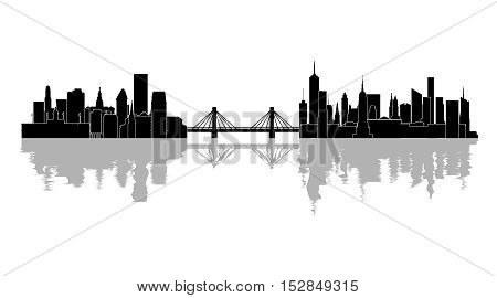 Illustration silhouette of the city and the bridge on a white background.