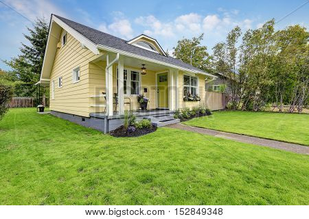Small American Yellow House Exterior Stock Photo Stock