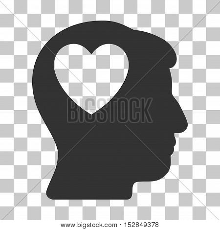 Gray Love Heart Think toolbar icon. Vector pictogram style is a flat symbol on chess transparent background.