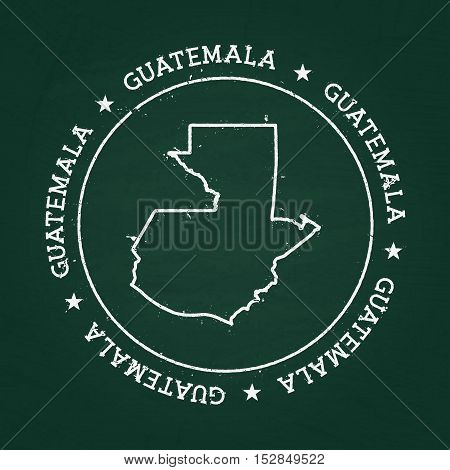 White Chalk Texture Rubber Seal With Republic Of Guatemala Map On A Green Blackboard. Grunge Rubber