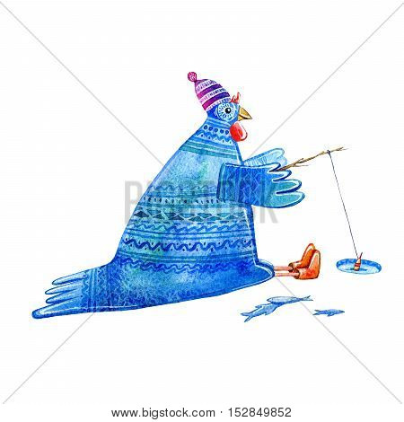 comic rooster ornament on winter fishing.Symbol of the new year 2017.Watercolor hand drawn illustration.White background.