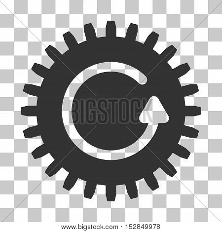 Gray Rotate Cog interface toolbar pictogram. Vector pictogram style is a flat symbol on chess transparent background.