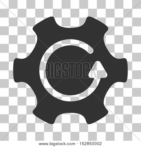 Gray Rotate Gear interface toolbar pictogram. Vector pictogram style is a flat symbol on chess transparent background.