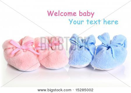 Pink and blue baby booties.