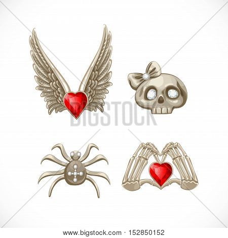 Brooches And Buckles Decorating For The Holiday Halloween Isolated On White Background