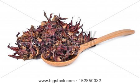 Dried okra in wooden spoon isolated on white