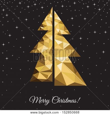 Low poly triangle Christmas tree. Xmas greeting card with gold spruce on black background. Vector illustration in origami style.