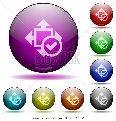 Set of color accept size glass sphere buttons with shadows.