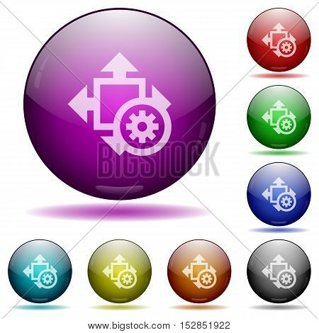 Set of color size settings glass sphere buttons with shadows.