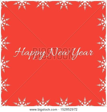 New year pattern. Snowflakes in vector on a red background.