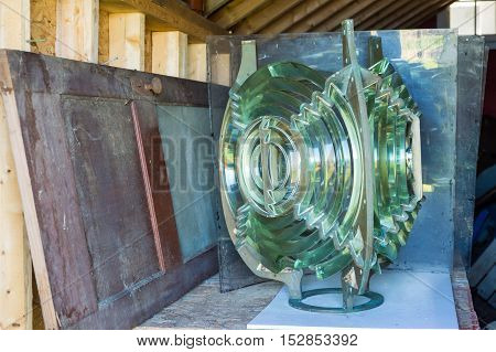 Lighthouse Fresnel lens in a storage room