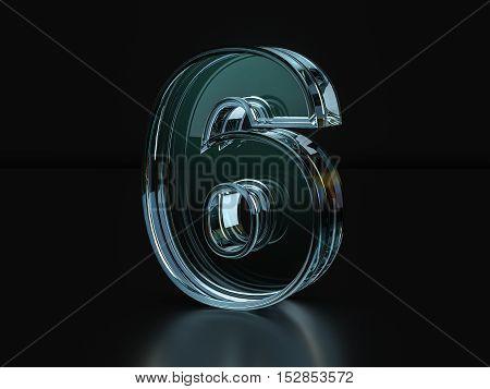 Glass Number 6  3D Illustration