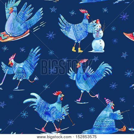 Seamless pattern with comic rooster on skates,skiing,snowman,hockey,fishing,sled and snowflake.Symbol of the new year 2017.Watercolor hand drawn illustration.Dark blue background.