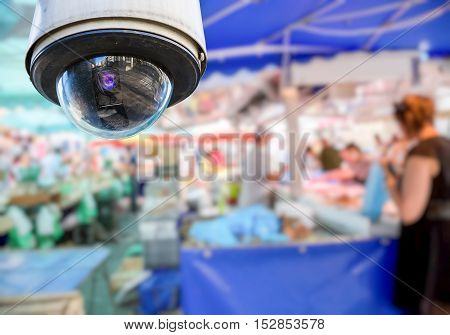Cctv Camera On Local Market