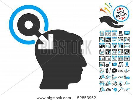 Brain Interface Plug-In icon with bonus 2017 new year icon set. Vector illustration style is flat iconic symbols, modern colors, rounded edges.