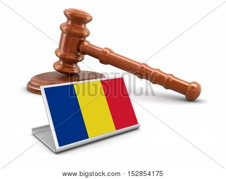 3D Illustration. 3d wooden mallet and Romanian flag. Image with clipping path
