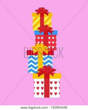 Vector Illustration: Piles of presents. Vector card.