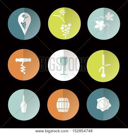 Colorful round flat vine icons on black, vector illustration